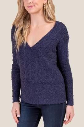 francesca's Esmerelda V Back Sweater - Navy