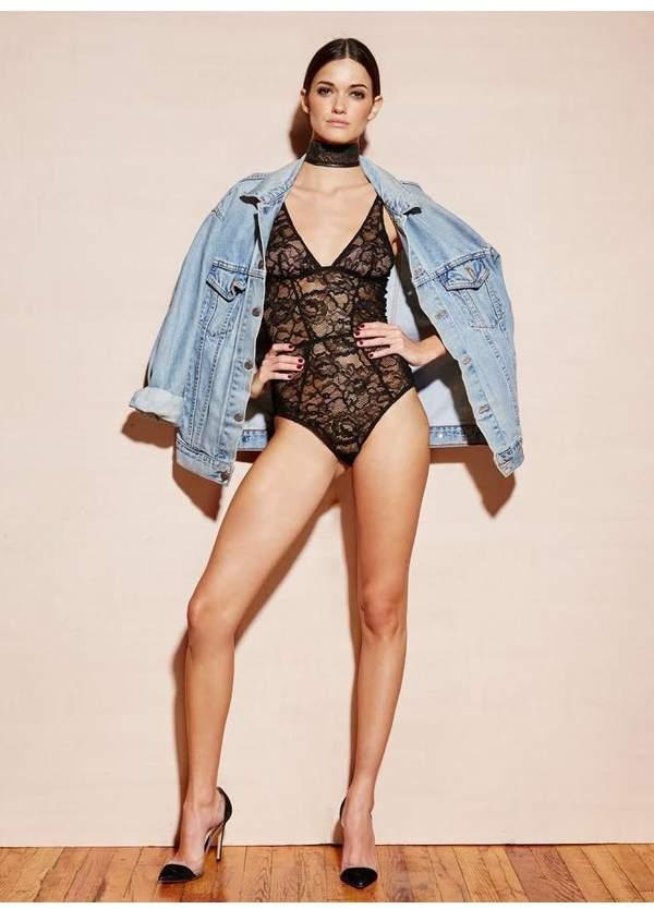 | Chat Noir Lace Plunge Bodysuit | Size Xs | Black