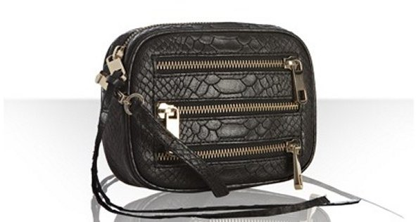 Rebecca Minkoff black snake embossed leather 'BF' crossbody bag
