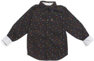 Guitar Print Button Down Woven Shirt