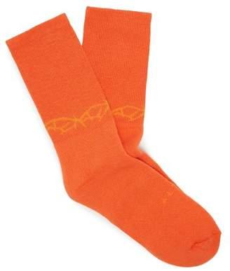 1017 Alyx 9sm - Thorn Ribbed Cotton Blend Socks - Mens - Orange