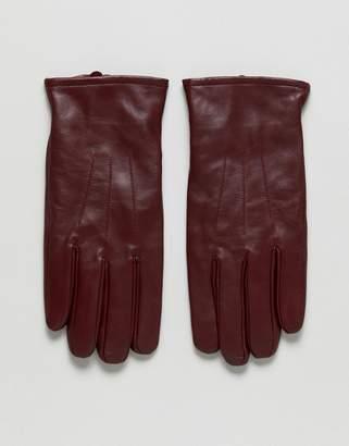 Asos DESIGN Leather Gloves In Burgundy