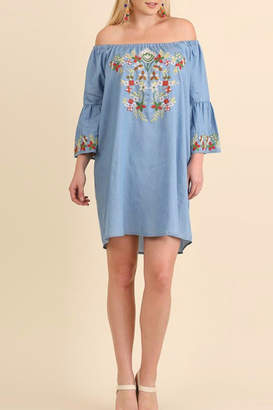 Umgee USA Embroidered Chambray Dress