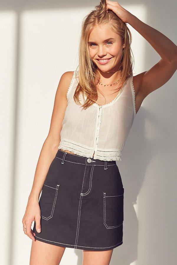 BDG Contrast Stitch Twill A-Line Mini Skirt