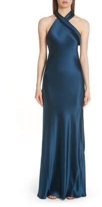 GALVAN Twist Halter Neck Silk Gown