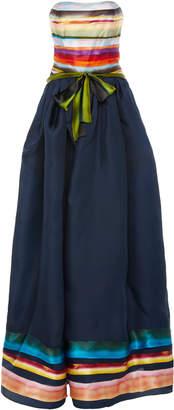 Rosie Assoulin Strapless Striped Silk-Taffeta Gown