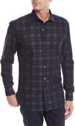 Ermenegildo Zegna Men's Large-Plaid Woven Shirt
