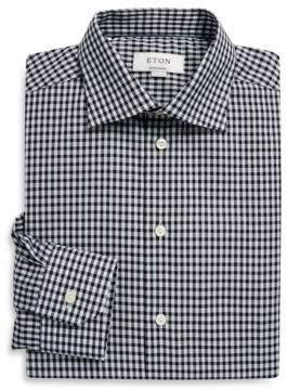 Eton Contemporary-Fit Gingham Linen Blend Shirt