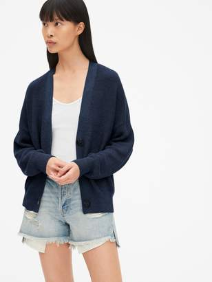 Gap Relaxed Button-Front Cardigan Sweater in Linen-Blend