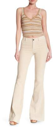 Alice + Olivia Lamb Leather Flare Leg Skinny Pants
