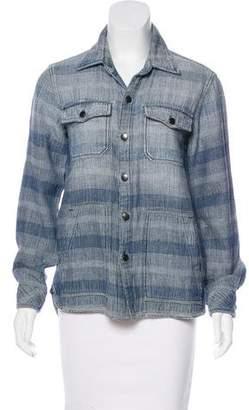 Current/Elliott Striped Button-Up Jacket