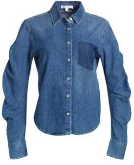Jonathan Simkhai Denim Patch Gather-Sleeve Shirt