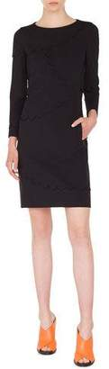 Akris Punto Long-Sleeve Sheath Dress with Memphis Scallop Details