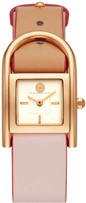 Tory Burch THAYER WATCH, BEIGE & PINK LEATHER/ROSE-GOLD, 25 x 39 MM