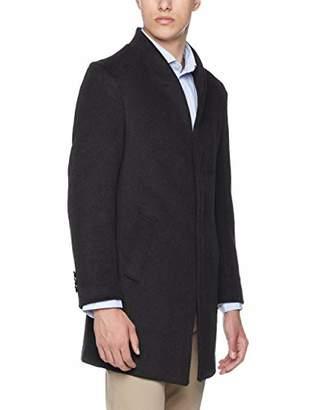 Trimthread Men's Winter Gentleman Slim Single Breasted Long Wool Blend Top Coat Overcoat (