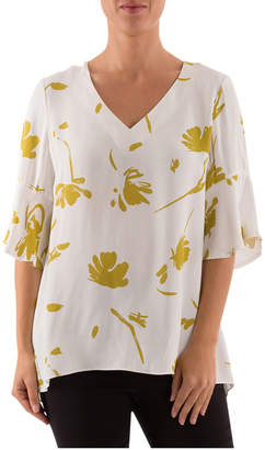 3/4 Ruffle Sleeve V-Neck Floral Top