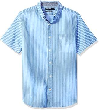 Nautica Men's Short Sleeve Slim Fit Striped Button Down Shirt