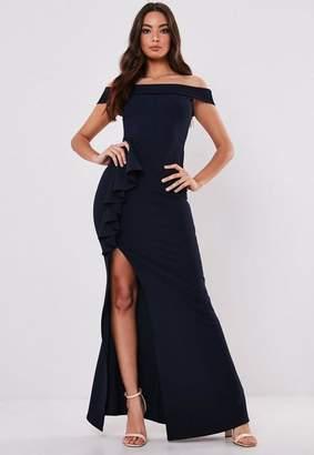 Missguided Bridesmaid Navy Bardot Frill Maxi Dress