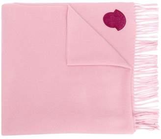 Moncler logo fringed scarf