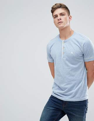 Abercrombie & Fitch Henley T-Shirt Contrast Placket Icon Moose Logo in Blue Marl