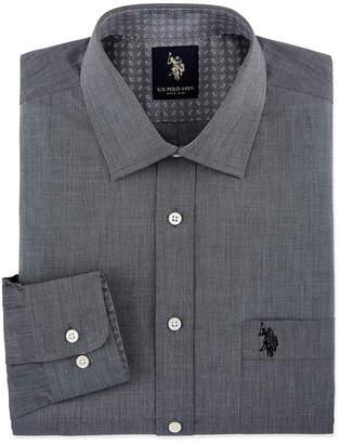 U.S. Polo Assn. USPA End On End Solid Mens Spread Collar Long Sleeve Stretch Dress Shirt - Slim