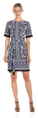 Gabby Skye Women's Elbow Sleeve Round Neck Crepe Blouson Dress
