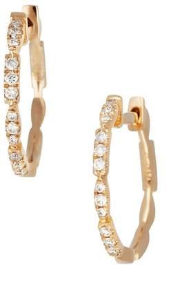 Bony Levy 18K Rose Gold Diamond 15mm Hoop Earrings - 0.14 ctw