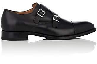 Barneys New York Men's Leather Double-Monk-Strap Shoes - Black