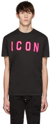 DSQUARED2 Black and Pink Acid Punk Icon Cool Fit T-Shirt