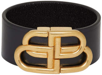 Balenciaga Black Leather BB Bracelet