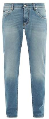 Dolce & Gabbana Slim Fit Washed Denim Jeans - Mens - Light Denim
