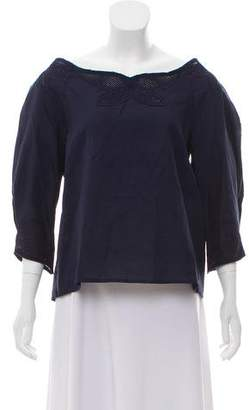 Vilshenko Embroidered Scoop Neck Blouse