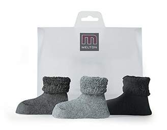 Melange Home Melton Unisex Babies' Babysöckchen Terry - Geschenkbox 3er Pack Socks, (Light Grey 135), One Size (Herstellergröße: OS) UK