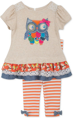 Rare Editions Baby Girls' 2-Pc. Owl Top & Leggings Set $50 thestylecure.com