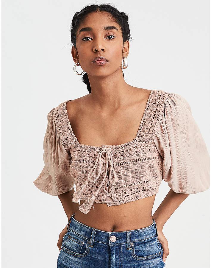 AE Crochet Crop Top