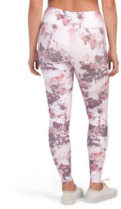 Distressed Floral Leggings With Side Stripe
