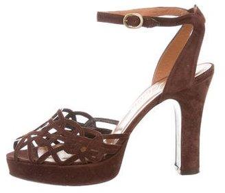 Delman Suede Cutout Sandals $75 thestylecure.com