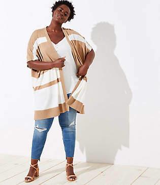 LOFT Plus Colorblock Poncho Sweater
