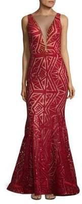 Nicole Bakti Geometric Sleeveless Mermaid Gown