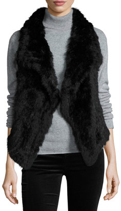 Alberto Makali Solid Rabbit Fur Vest, Black $239 thestylecure.com