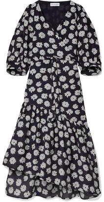 Apiece Apart Bougainvillea Floral-print Cotton And Silk-blend Wrap Dress - Midnight blue