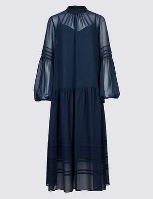 Marks and Spencer Long Sleeve Drop Waist Midi Dress