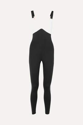 Vaara - Savannah Two-tone Stretch-knit Bodysuit - Black