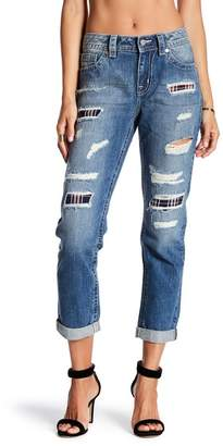 Miss Me Torn Plaid Patch Boyfriend Ankle Jeans