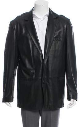 Andrew Marc Button-Up Leather Jacket