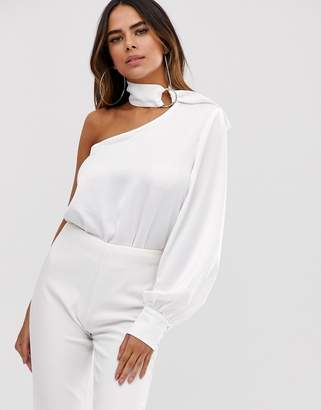 4th + Reckless 4th & Reckless one shoulder choker body in white