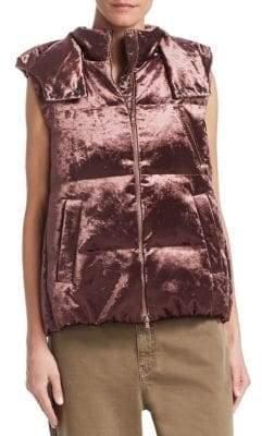 Brunello Cucinelli Velvet Hooded Puffer Vest