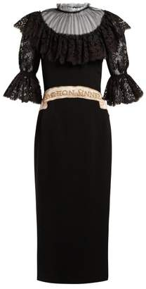 Dolce & Gabbana Fashion Sinner Embroidered Midi Dress - Womens - Black