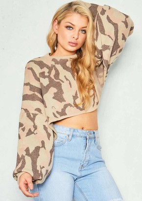 Missy Empire Missyempire Bella Stone Camo Long Sleeve Crop Jumper