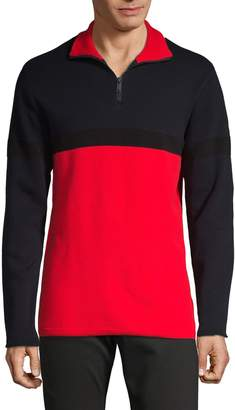 DKNY Ottoman Half-Zip Cotton Top